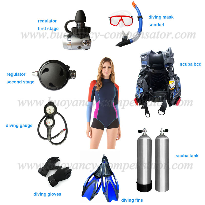 Full set of scuba gear and diving equipments for scuba divers for Scuba dive equipment
